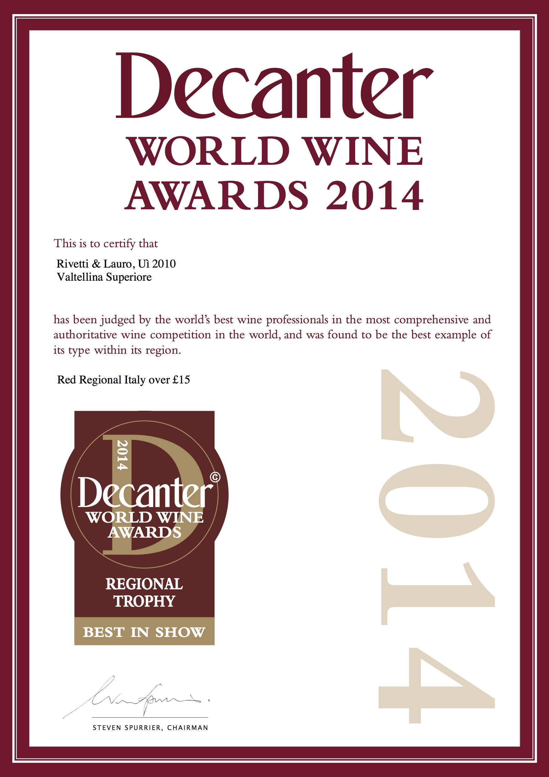Decanter World Wine Awards 2014 Regional Trophy